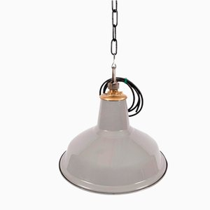 Industrial Brass and Enamel Ceiling Lamp, 1950s
