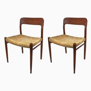 Chaises de Salle à Manger en Teck et Corde par Niels Otto Møller pour JL Møllers, Danemark, 1960s, Set de 2