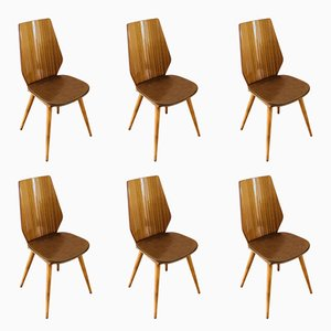Leatherette & Mahogany Dining Chairs by Max Bill for Baumann, 1960s, Set of 6