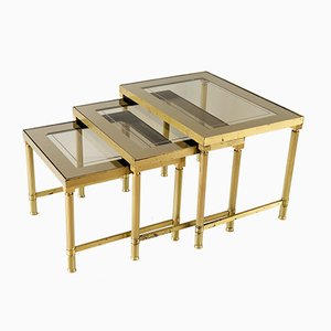 Brass and Colored Glass Nesting Tables, 1950s