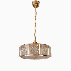 Brass & Glass Ceiling Lamp by Carl Fagerlund for Orrefors, 1960s
