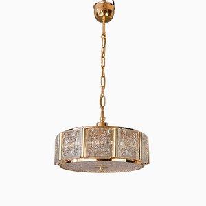 Lampada da soffitto in ottone e vetro di Carl Fagerlund per Orrefors, anni '60