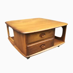 Pandoras Box Elm Coffee Table from Ercol, 1970s