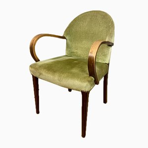 Vintage French Beech and Velour Side Chair, 1930s