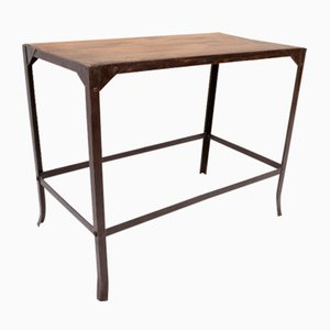 Mid-Century French Metal and Wood Worktable, 1960s