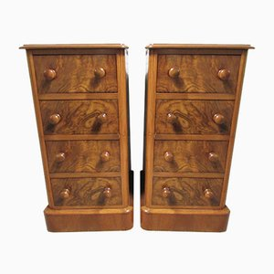 19th Century Burr Walnut Chests of Drawers, Set of 2