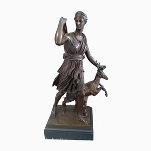 Antique French Bronze Diana the Huntress Sculpture by Ferdinand Bardediene for Achille Collas