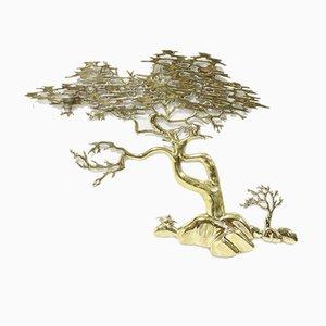 Scultura da parete a forma di bonsai in ottone di Willy Daro, anni '70