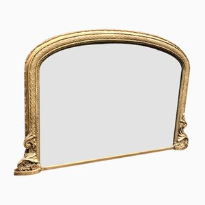 Antique Carved Wood & Gesso Overmantel Mirror