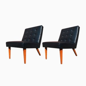 Vintage Sessel aus Rindlsleder mit genieteten Lehnen, 1970er, 2er Set