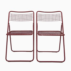 Scandinavian Modern Red Wire Folding Chairs by Niels Gammelgaard for Ikea, 1970s, Set of 2