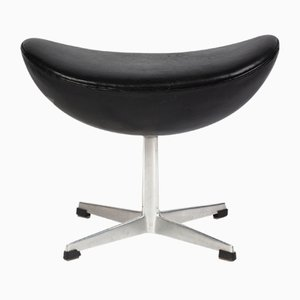 Danish Aluminum and Leather Stool by Arne Jacobsen for Fritz Hansen, 1960s