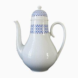 Caffettiera in ceramica bianca e blu di Bjørn Wiinblad per Rosenthal, Germania, anni '60