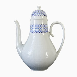 Deutsche Keramikkanne in Weiß & Blau von Bjørn Wiinblad für Rosenthal, 1960er