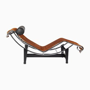 Chaise Lounge italiana de metal cromado de Le Corbusier para Cassina, años 60