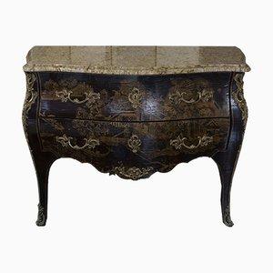 Cómoda francesa antigua de latón, bronce y laca