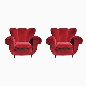Italienische Sessel aus Holz & Samt von Guglielmo Ulrich, 1940er, 2er Set
