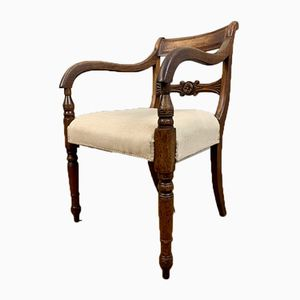 Antique Mahogany and Linen Desk Chair