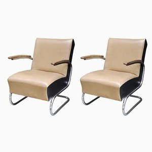 Bauhaus Leather and Tubular Steel Armchairs from Thonet, 1930s, Set of 2