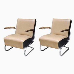 Bauhaus Sessel aus Leder und Stahlrohr von Thonet, 1930er, 2er Set