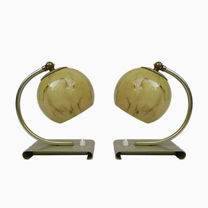Art Deco German Brass, Glass, and Anodized Aluminum Table Lamps, Set of 2