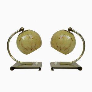 Lampade da tavolo Art Déco in ottone, vetro e alluminio anodizzato, Germania, set di 2