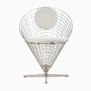 Silla de comedor danesa escandinava moderna de metal galvanizado de Verner Panton para Plus-Linje, años 60