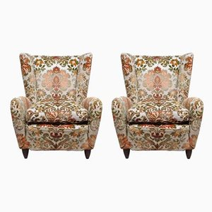 Italian Fabric and Wood Armchairs by Paolo Buffa, 1950s, Set of 2