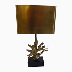 French Bronze and Marble Table Lamp from Maison Charles, 1970s