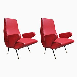 Italian Skai Armchairs by Nino Zoncada for Manifattura Italiana, 1950s, Set of 2