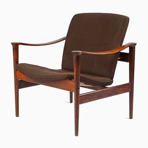 Model 711 Rosewood Armchairs by Fredrik A. Kayser for Vatne Lenestolfabrikk, 1960s, Set of 2