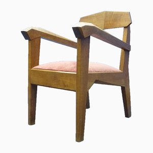 Vintage Postmodern German Fabric and Walnut Armchair by Siegfried Pütz
