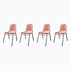 French Iron and Cow Leather Dining Chairs by Charlotte Perriand, 1950s, Set of 5