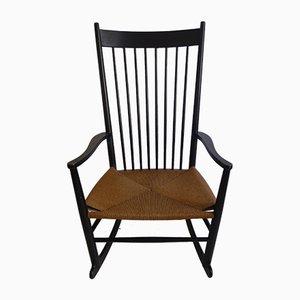 Rocking Chair Scandinave en Hêtre et Corde par Hans J. Wegner, Danemark, 1960s