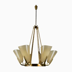 Large Brass & Lucite Chandelier by Rupert Nikoll, 1960s