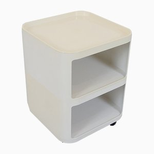 Mesa auxiliar Componibili Quadrati modelo 4970 italiana de plástico con ruedas de Anna Castelli Ferrieri para Kartell, años 90