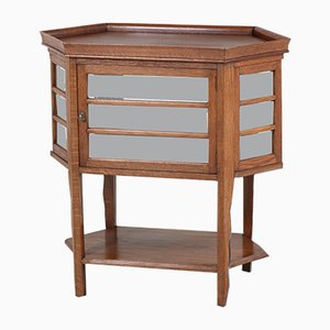 Mueble Art Déco vintage de vidrio y roble, años 20