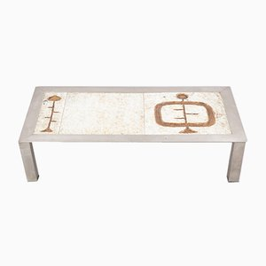 Mid-Century French Ceramic and Steel Coffee Table, 1960s