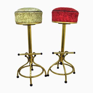 Vintage Fabric and Metal Stools, 1970s, Set of 2