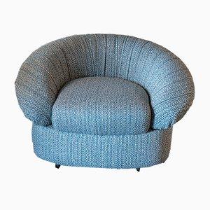Round Italian White, Blue, Green, & Black Woven Bouclè Lounge Chair, 1970s