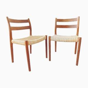 Chaises d'Appoint Modèle 84 en Teck par Niels Otto Møller pour J.L. Møllers, Danemark, 1960s, Set de 2