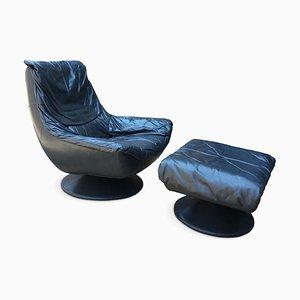 Juego de sillón giratorio y otomana vintage de cuero azul, años 70