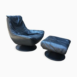 Vintage Blue Leather Swivel Lounge Chair & Ottoman Set, 1970s