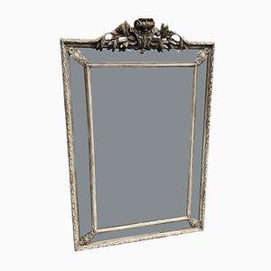 Großer französischer Bistro Spiegel im Rahmen aus geschnitztem Holz & Gesso, 19. Jh