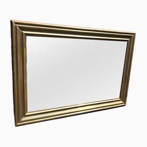 Französischer Spiegel aus geschnitztem Holz & Messing, 19. Jh
