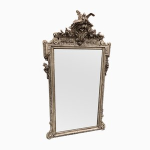 Großer antiker französischer Spiegel im Rahmen aus geschnitztem Holz & Gesso