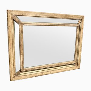 Antiker französischer Spiegel mit geschnitztem Holz & Gesso