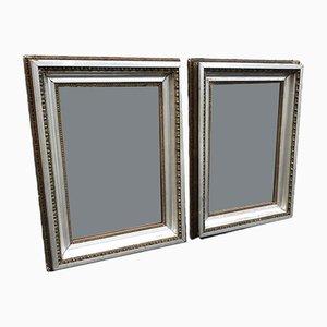 Antike französische Spiegel im Rahmen aus geschnitztem Holz & Gesso, 2er Set