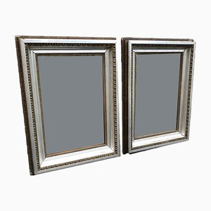 Antique French Carved Wood & Gesso Mirrors, Set of 2