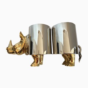 Italian Modern Brass & Bronze Rhino Double Wine Holder, 1970s